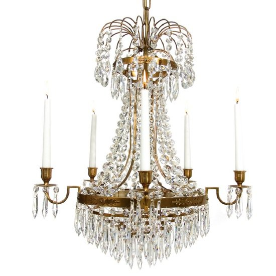 Empire crystal chandelier in amber coloured brass with bottom of crystal drops gustavian style treniq 1 1522529403736