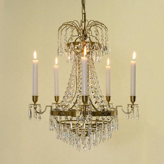 Empire crystal chandelier in amber coloured brass with bottom of crystal drops gustavian style treniq 1 1522529403748