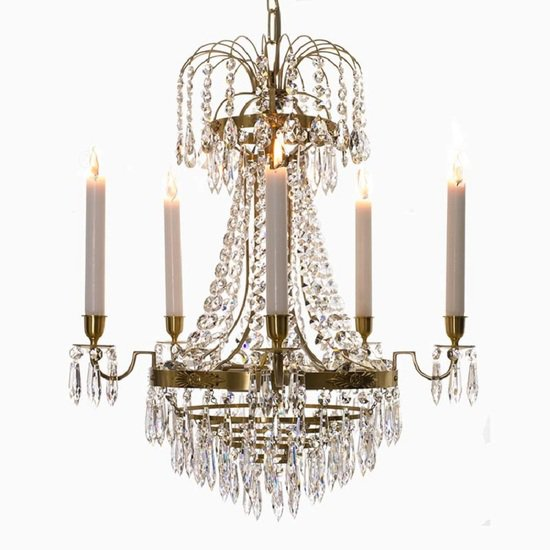 Empire crystal chandelier in amber coloured brass with bottom of crystal drops gustavian style treniq 1 1522529403742