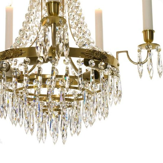 Empire crystal chandelier in amber coloured brass with bottom of crystal drops gustavian style treniq 1 1522529403754