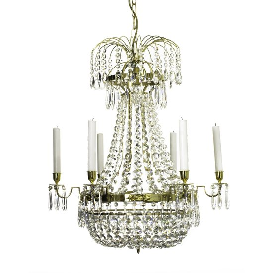f1f580ce21 6 arm empire crystal chandelier in polished brass with a basket of crystal  octagons gustavian style