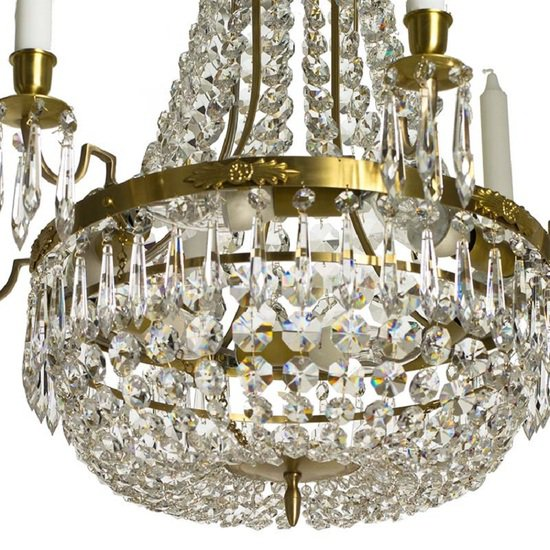 6 arm empire crystal chandelier in amber coloured brass with a basket of crystal octagons gustavian style treniq 1 1522529832144