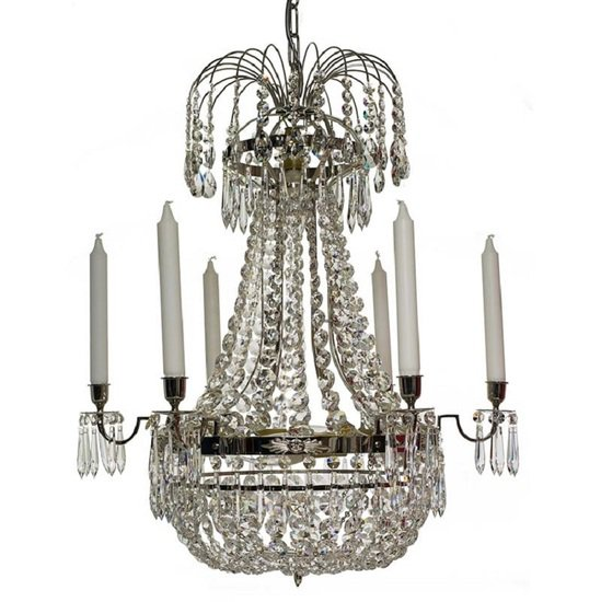6 arm empire crystal chandelier in nickel plated brass with a basket of crystal octagons gustavian style treniq 1 1522530045890
