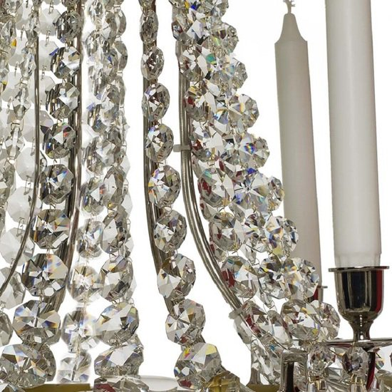 6 arm empire crystal chandelier in nickel plated brass with a basket of crystal octagons gustavian style treniq 1 1522530045902