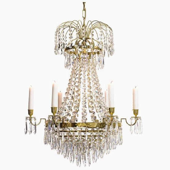 6 arm empire crystal chandelier in polished brass with crystal drops gustavian style treniq 1 1522530155840