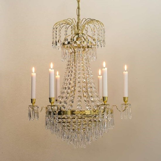 6 arm empire crystal chandelier in polished brass with crystal drops gustavian style treniq 1 1522530155860