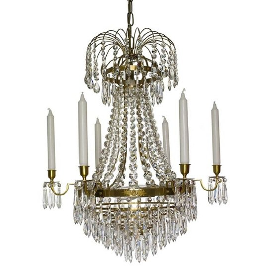 6 arm empire crystal chandelier in amber coloured brass with crystal drops gustavian style treniq 1 1522530694190