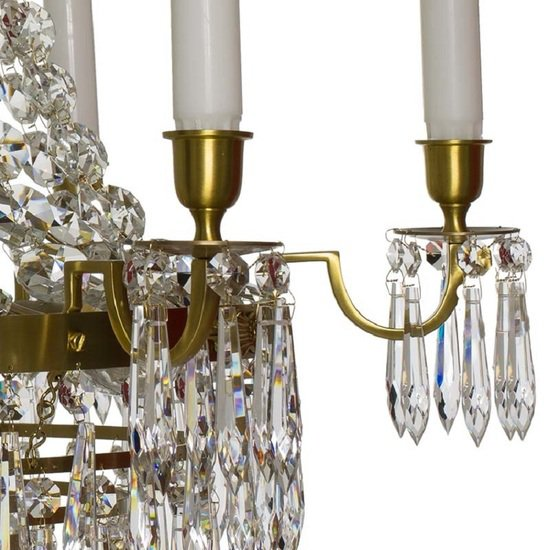 6 arm empire crystal chandelier in amber coloured brass with crystal drops gustavian style treniq 1 1522530694200