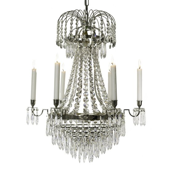 6 arm empire crystal chandelier in nickel plated brass with crystal drops gustavian style treniq 1 1522530930928