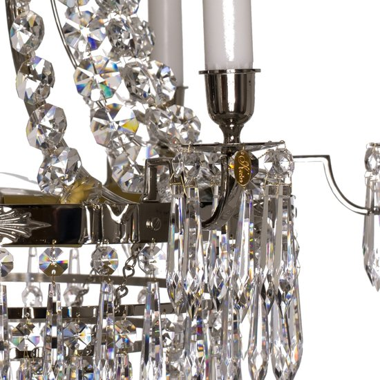 6 arm empire crystal chandelier in nickel plated brass with crystal drops gustavian style treniq 1 1522530930942