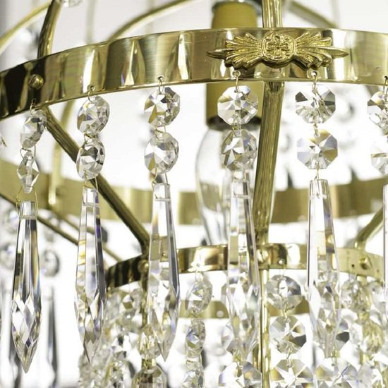 8 arm empire crystal chandelier in polished brass with a basket of crystal octagons gustavian style treniq 1 1522531072014