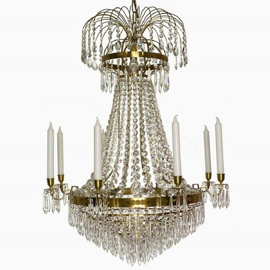 8 arm empire crystal chandelier in amber coloured brass with crystal drops gustavian style treniq 1 1522531306826