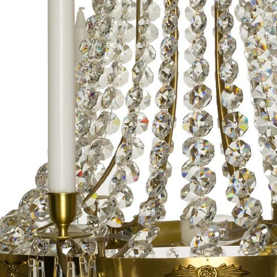 8 arm empire crystal chandelier in amber coloured brass with crystal drops gustavian style treniq 1 1522531306846