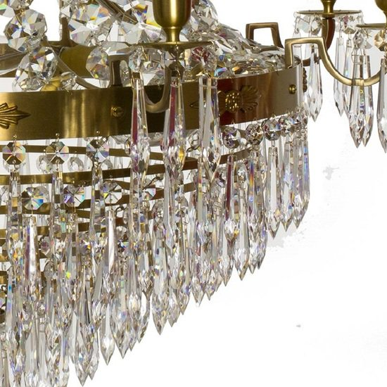 8 arm empire crystal chandelier in amber coloured brass with crystal drops gustavian style treniq 1 1522531306848