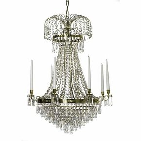 8-Arm-Empire-Crystal-Chandelier-In-Polished-Brass-With-Crystal-Drops_Gustavian-Style_Treniq_0