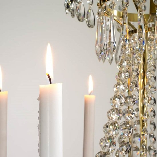 8 arm empire crystal chandelier in polished brass with crystal drops gustavian style treniq 1 1522531609052