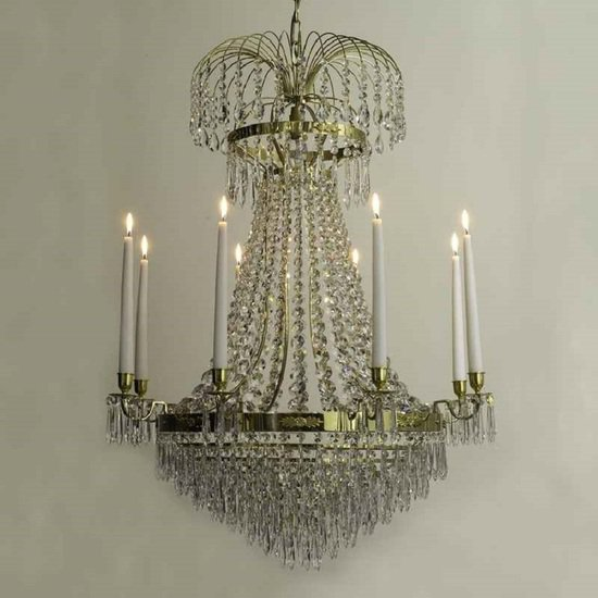 8 arm empire crystal chandelier in polished brass with crystal drops gustavian style treniq 1 1522531609064