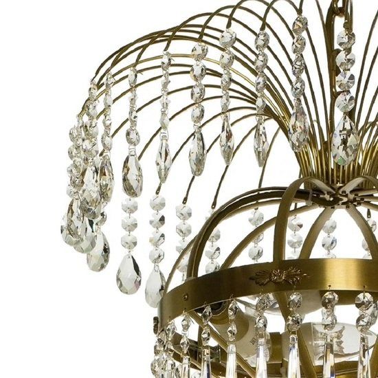 10 arm empire crystal chandelier in amber coloured brass with crystal drops gustavian style treniq 1 1522531724226