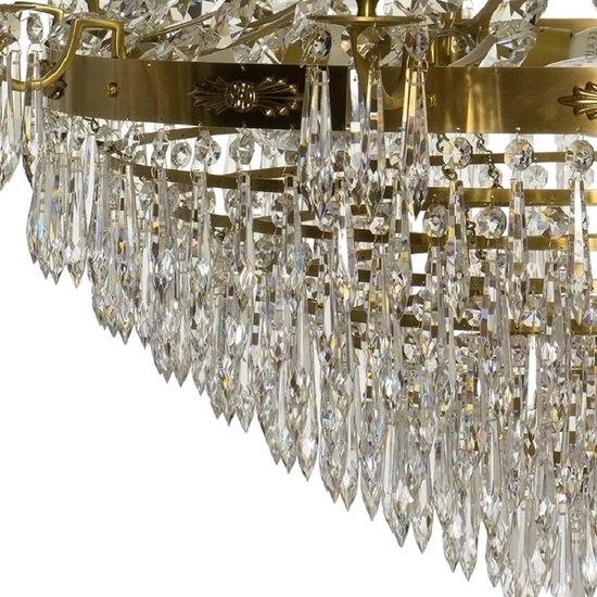10 arm empire crystal chandelier in amber coloured brass with crystal drops gustavian style treniq 1 1522531724244