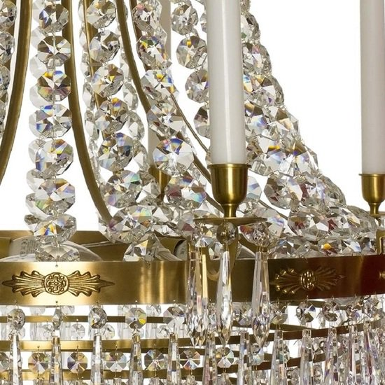 10 arm empire crystal chandelier in amber coloured brass with crystal drops gustavian style treniq 1 1522531724240