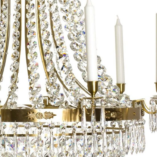 10 arm empire crystal chandelier in amber coloured brass with a basket of crystal octagons gustavian style treniq 1 1522532173504