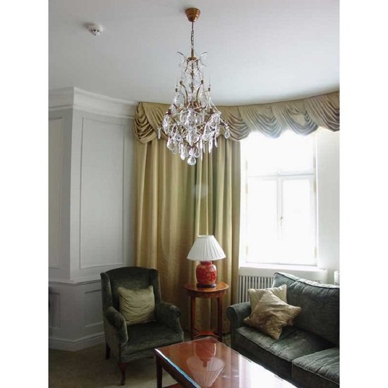 5 arm rococo crystal chandelier in amber coloured brass with crystal pendeloques gustavian style treniq 1 1522532326470