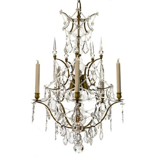 5 arm rococo crystal chandelier in amber coloured brass with crystal pendeloques gustavian style treniq 1 1522532326438