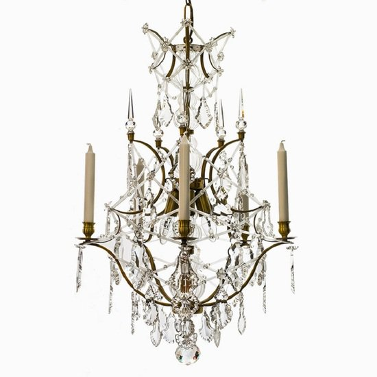 5 arm rococo crystal chandelier in amber coloured brass with crystal pendeloques gustavian style treniq 1 1522532326462