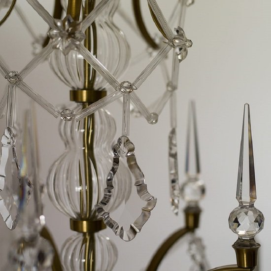5 arm rococo crystal chandelier in amber coloured brass with crystal pendeloques gustavian style treniq 1 1522532326452