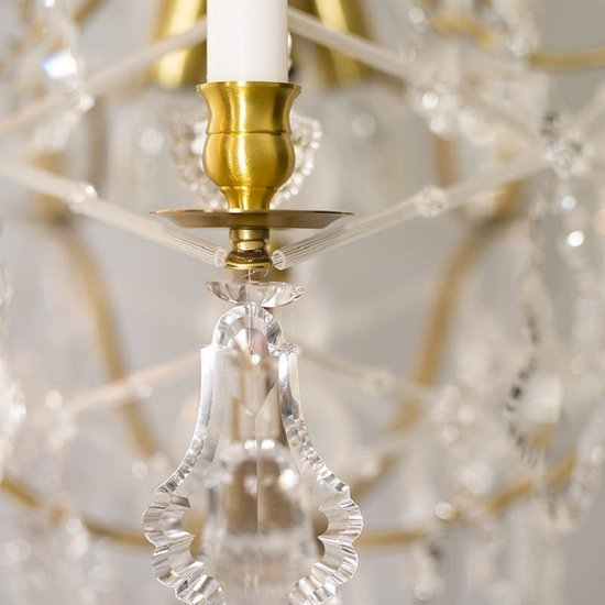 5 arm rococo crystal chandelier in amber coloured brass with crystal pendeloques gustavian style treniq 1 1522532326446