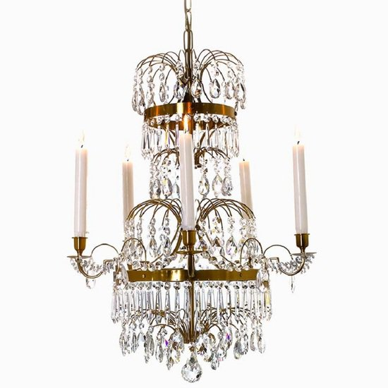 5 arm swedish crystal chandelier in amber coloured brass with plume shaped crystal bottom gustavian style treniq 1 1522532452598