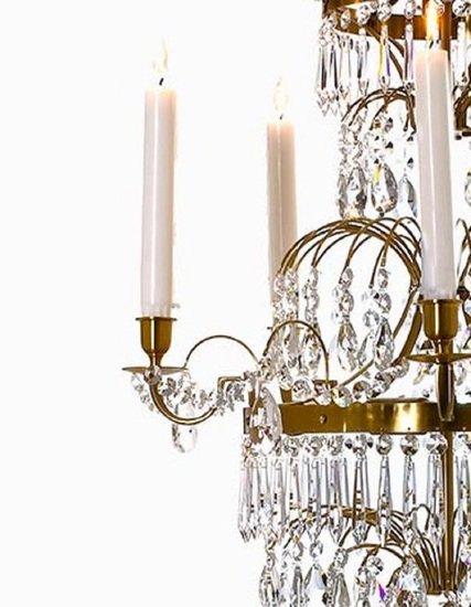5 arm swedish crystal chandelier in amber coloured brass with plume shaped crystal bottom gustavian style treniq 1 1522532452608