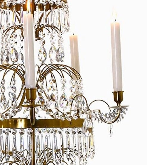 5 arm swedish crystal chandelier in amber coloured brass with plume shaped crystal bottom gustavian style treniq 1 1522532452620