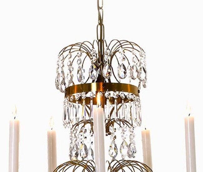 5 arm swedish crystal chandelier in amber coloured brass with plume shaped crystal bottom gustavian style treniq 1 1522532452630