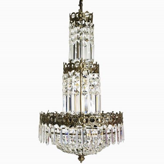 Swedish crystal chandelier in dark brass with basket shaped crystal bottom gustavian style treniq 1 1522573404940