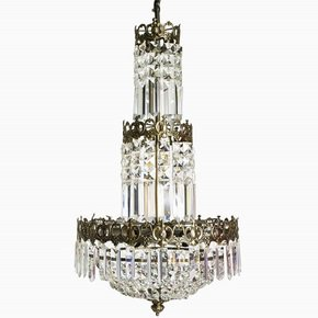 Swedish-Crystal-Chandelier-In-Dark-Brass-With-Basket-Shaped-Crystal-Bottom_Gustavian-Style_Treniq_0