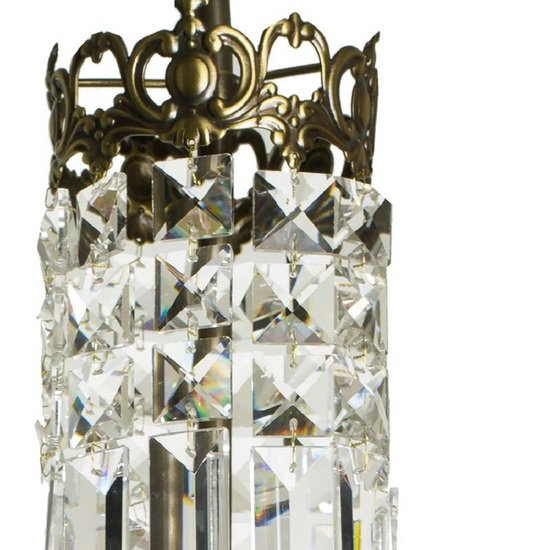 Swedish crystal chandelier in dark brass with basket shaped crystal bottom gustavian style treniq 1 1522573405094