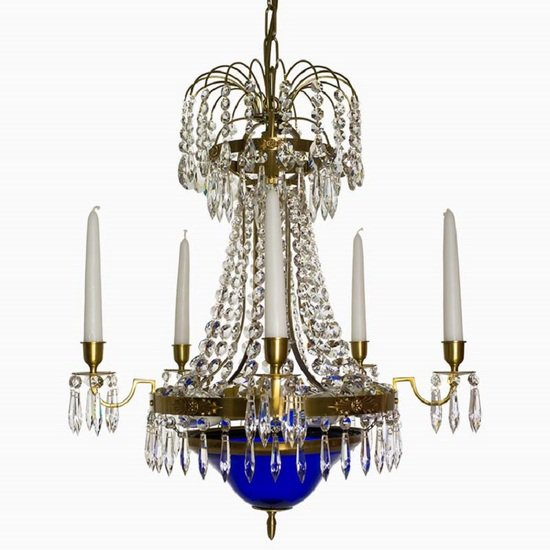 Swedish crystal chandelier in amber coloured brass with basket shaped coloured glass bottom gustavian style treniq 1 1522573592096