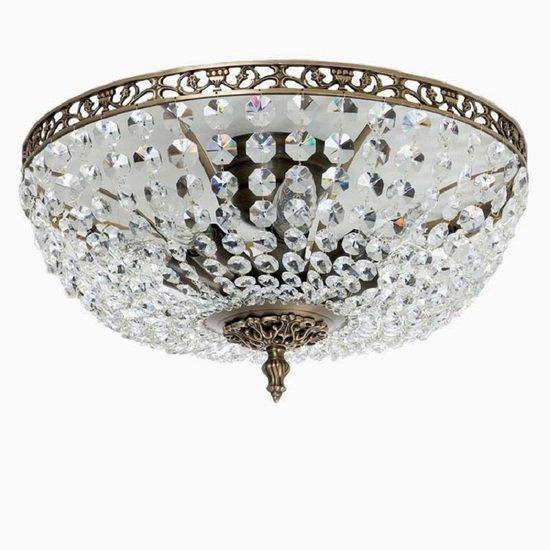Crystal plafond chandelier in dark coloured brass with basket shaped crystal bottom gustavian style treniq 1 1522573745490