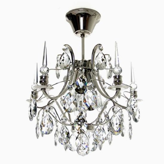 Crystal plafond chandelier in nickel plated brass with crystals gustavian style treniq 1 1522574087452