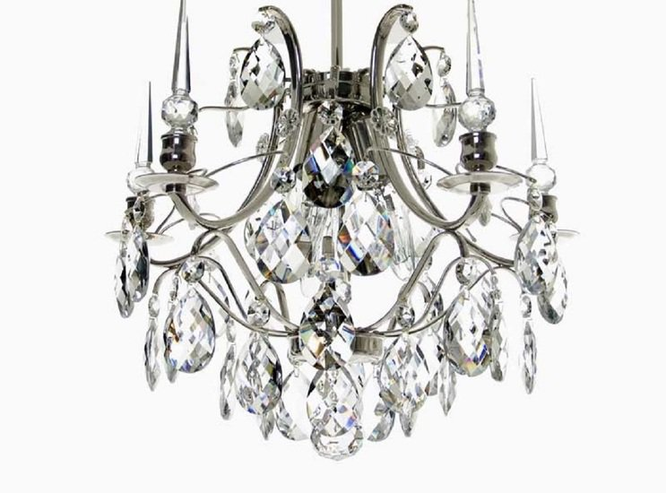Crystal plafond chandelier in nickel plated brass with crystals gustavian style treniq 1 1522574087494