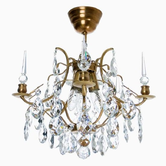Crystal plafond chandelier in amber coloured brass with crystals gustavian style treniq 1 1522575083322