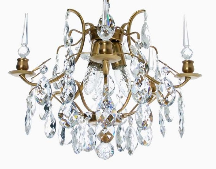 Crystal plafond chandelier in amber coloured brass with crystals gustavian style treniq 1 1522575083384