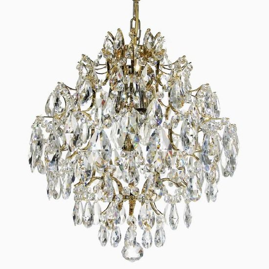Crystal chandelier in polished brass with crystals gustavian style treniq 1 1522575211672