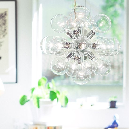 Modern glass chandelier in nickel plated brass with 18 clear halogen bulbs gustavian style treniq 1 1522576617552