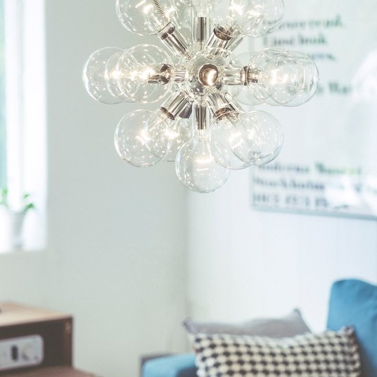 Modern glass chandelier in nickel plated brass with 18 clear halogen bulbs gustavian style treniq 1 1522576617582