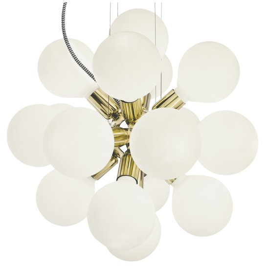 Modern glass chandelier in polished brass with 18 white halogen bulbs gustavian style treniq 1 1522576660032