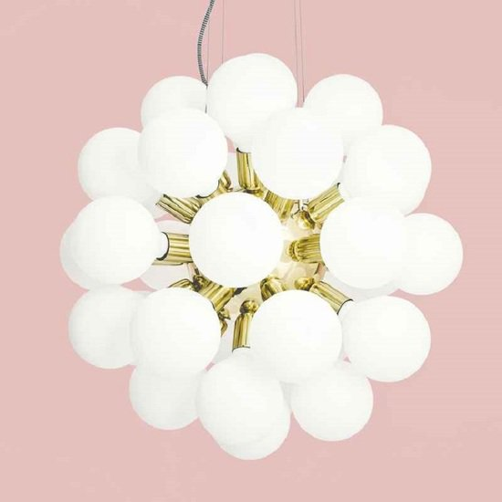 Modern glass chandelier in polished brass with 34 white halogen bulbs gustavian style treniq 1 1522576704362
