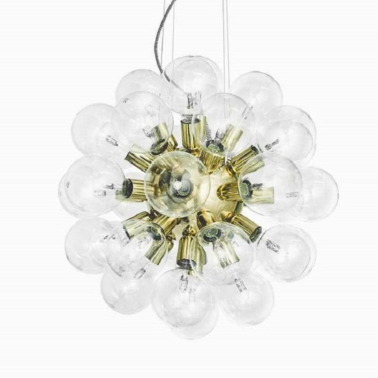 Modern glass chandelier in polished brass with 34 clear halogen bulbs gustavian style treniq 1 1522576738942