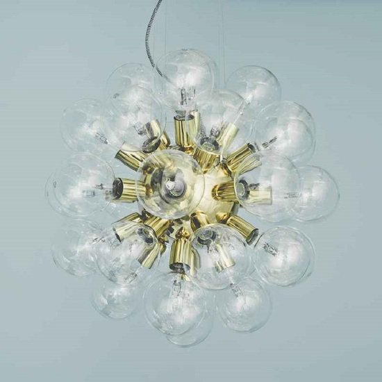 Modern glass chandelier in polished brass with 34 clear halogen bulbs gustavian style treniq 1 1522576739120